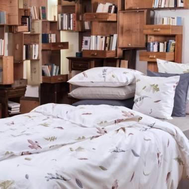 Linge de lit imprimé Dancing Leaves en satin de coton luxueux de Christian Fischbacher