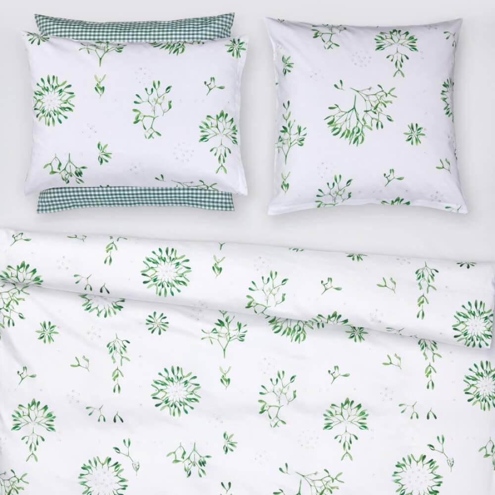 Linge de lit imprimé Winter Grün en satin de coton luxueux de Christian Fischbacher