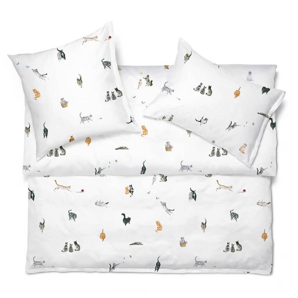 Linge de lit imprimé MINOU en satin de coton luxueux de Schlossberg