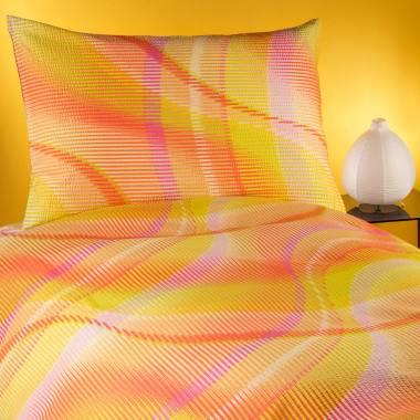 Bedruckte Bettwäschegarnitur IKATO aus Baumwoll-Satinkrinkel